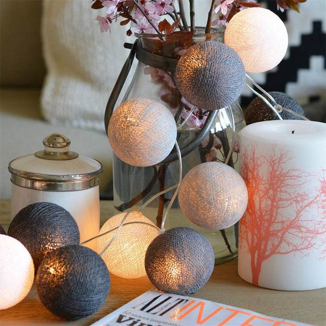 Cotton Led Balls Fairy Lamp String Lights Luminous Colorful Balls Party  Patio Wedding Christmas Decoration Supplies
