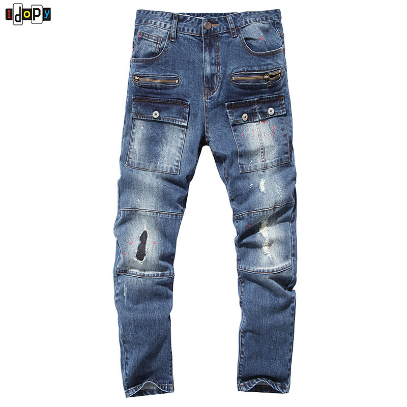 Fashion Trend Muli Pockets Slim Fit Holes Printed Mens Jeans Retro Washed Casual Jeans Pants For Men summer mens retro slim fit casual jeans vintage washed street wear cargo denim shorts with holes for men
