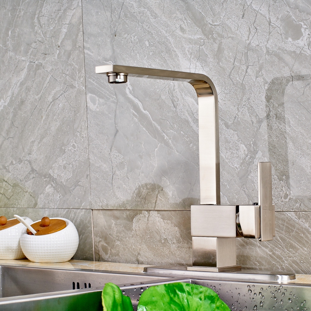 Uythner Contemporary Deck Mounted Nickle Brushed Kitchen Faucet Mixer Tap Single Handle Single Hole Swivel Mixer Tap popular led brushe nickle kitchen faucet one hole single handle deck mounted mixer faucet