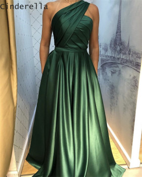 Cinderella Green One Shoulder Sleeveless A-Line Floor Length Satin Pleated Long Prom Dresses vestidos de fiesta de noche