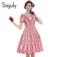 Sisjuly Vintage Dress 1950s Style Red Geometric Summer Rockabilly Women Party Dress Elegant Female 4xl Plus