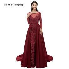 92ac83f37d388 Luxury Dark Red Mermaid Beaded Long Sleeve Evening Dresses 2019 with  Watteau Train Formal Women Party