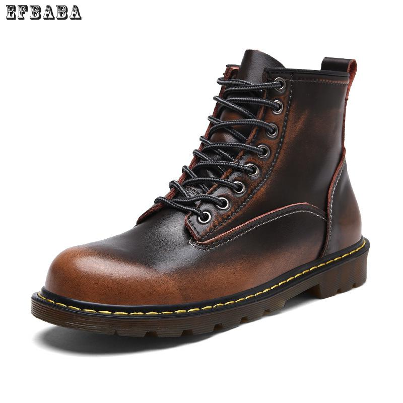 Efbaba Genuine Leather Men Martin Boots Lace-up High Men's Shoes Sewing Winter Boots Men Round Toe Botas Hombre Fashion Man Shoe z suo genuine leather men boots fashion men martin boots high quality ankle boots man winter shoes botas hombre zs16508