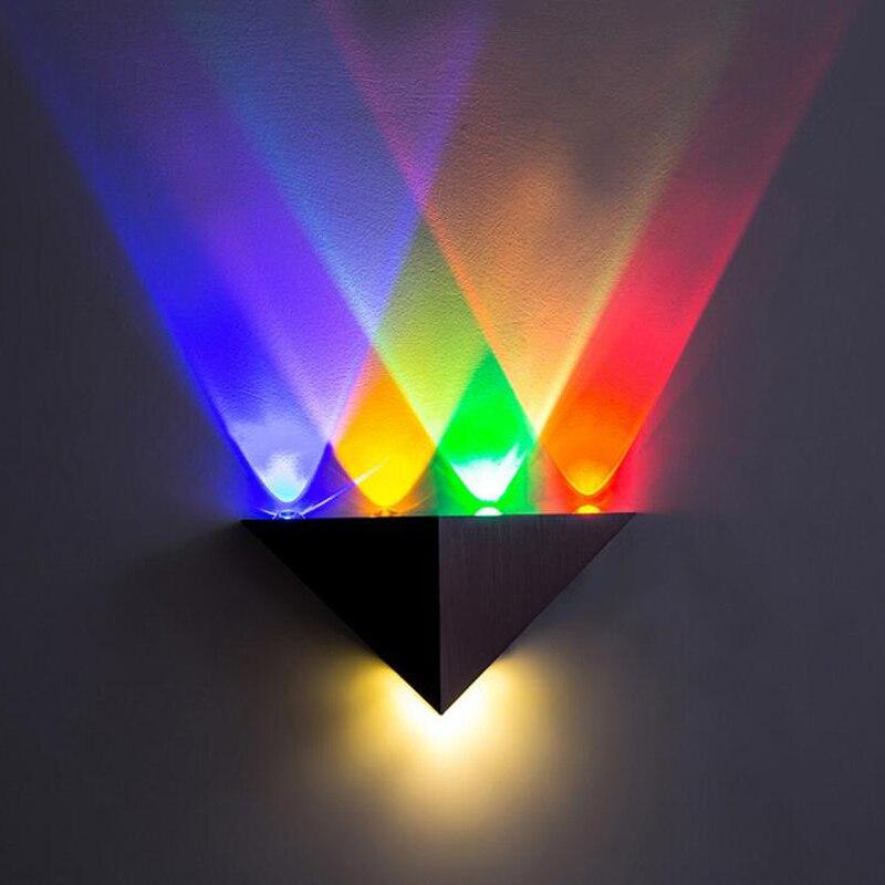 30 Stks/partij Moderne Led Wandlamp 5 W Ac85-265v Voor Home Decoratie Indoor Aluminium Driehoek Multi Kleur Wandlampen