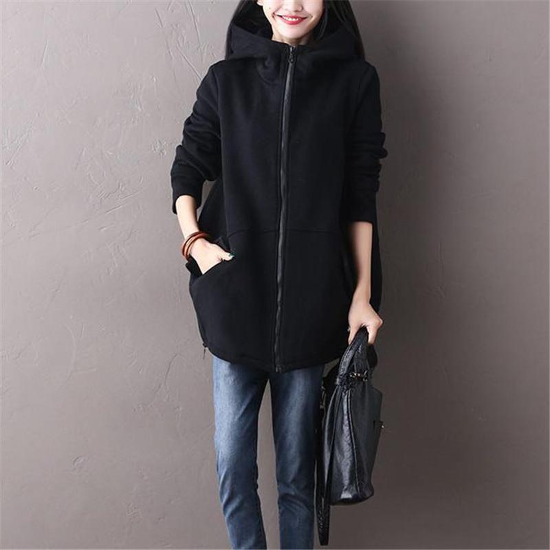 Grande taille hiver manteau 2018 mode automne femmes Long Hoodies Sweatshirts décontracté poches Zipper survêtement à capuche veste femme Z510