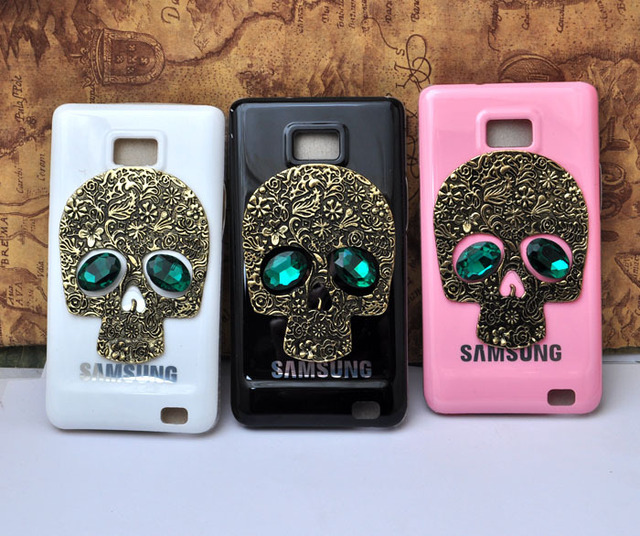 Pink White Black Hard Case Cover with Emerald Eyes Skull For Samsung GALAXY S II or 2 AT&T i777