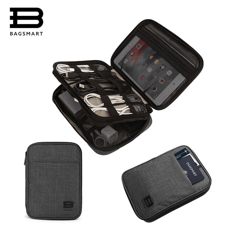 BAGSMART Voyage Accessoires Électroniques Sac En Nylon Hommes Voyage Organisateurs Pour Câble de Données USB Kindle iPad Mini Passeport Titulaire