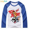 Jiuhehall HOT 2017 New Children Clothes Boys Girls T Shirts Cat and Mouse Kids Raglan Long Sleeve T-Shirts 100% Cotton DCM130