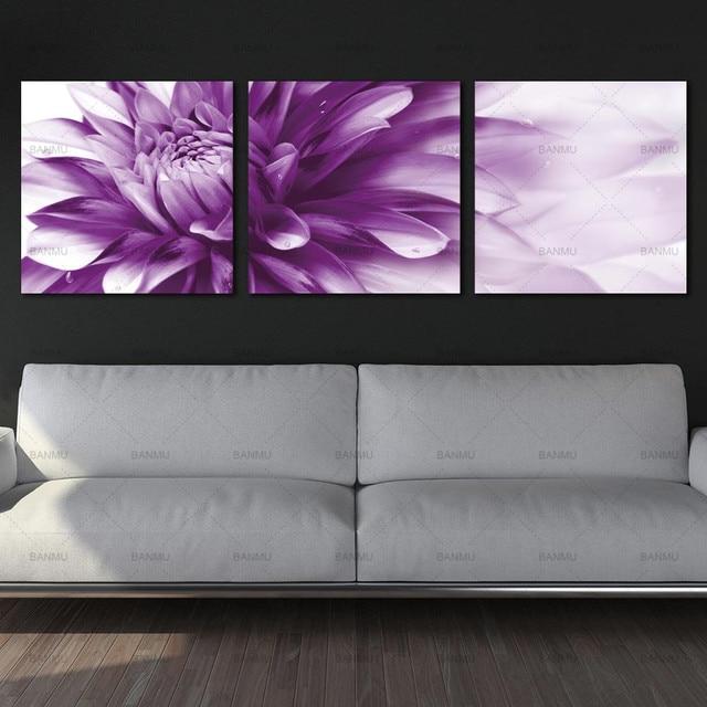 canvas painting wall art flower Art HD Giclee Art Print on Canvas Purple Bursting Chrysanthemum Buds Wall Painting Decor Art