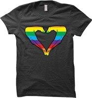 2018 New Fashion Man Rainbow Heart Hand Gay Pride Womens T Shirt Black T Shirt T