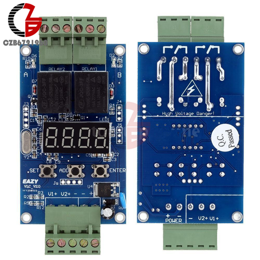 DC 12V Dual Programmable Relay Control Board Cycle Delay Timer Switch Module New 1pc multifunction self lock relay dc 5v plc cycle timer module delay time relay