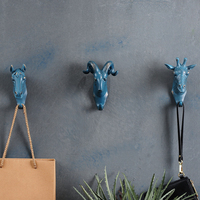 4PCS SET Rhino Elephant Giraffe Horse Animal Decorative Hook Creative Resin Model Bathroom Wall Hook Coat