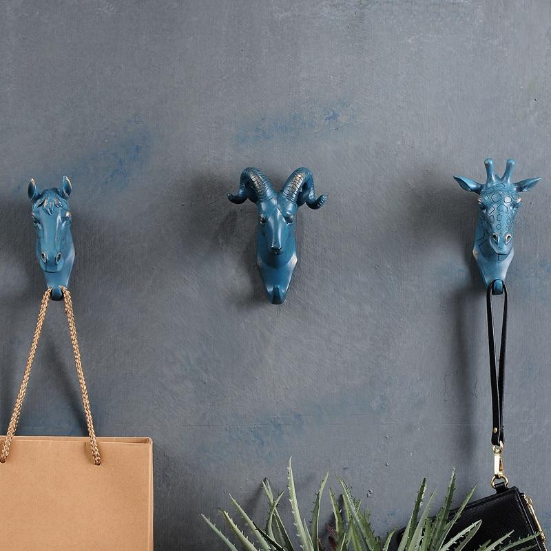 4 шт./компл. Rhino слон жираф Лошадь Животное декоративный крючок креативная Смола Модель ванная настенный крючок
