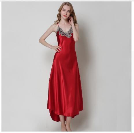 b9e751ecc8 ... innovative design 64472 63a7c Ladies Sexy Silk Satin Nightgown  Sleeveless Nighties Long Nightdress V neck Sleep ...