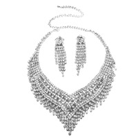1 X Ślubne Zestawy Biżuterii Srebro Cz Kryształ Rhinestone Frędzle Oświadczenie Naszyjnik i Kolczyki Zestawy Biżuterii dla Narzeczonych