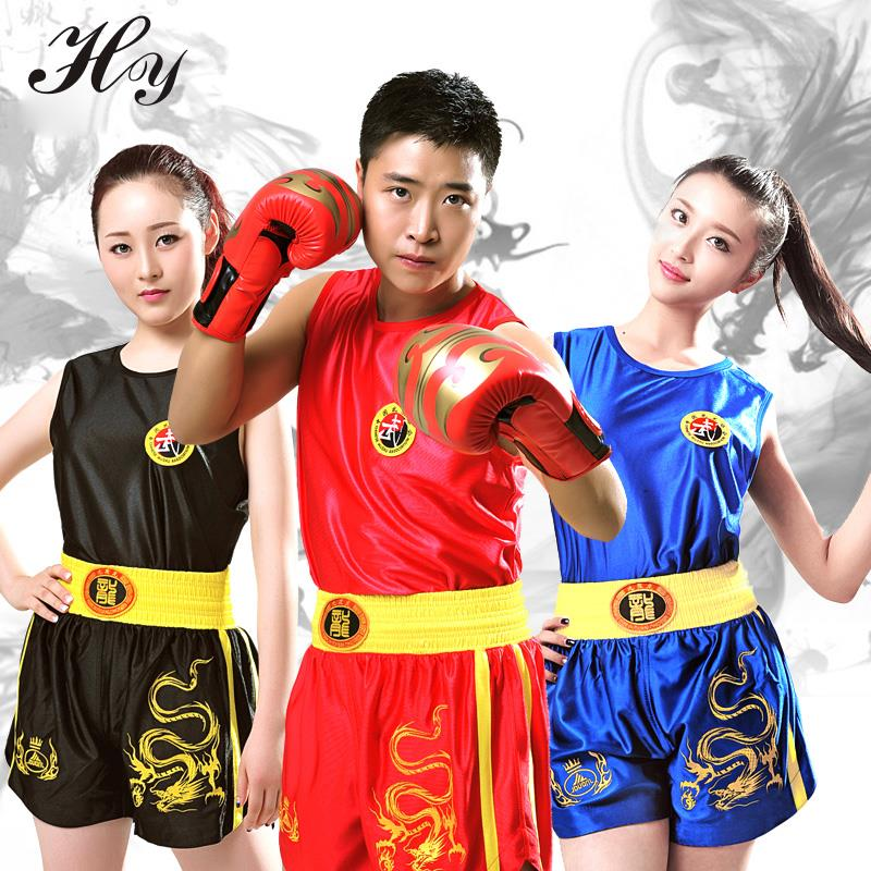 Black Red Muay Thai Sanda Suit Competition Kick Boxing MMA Muay Thai Shorts Clothing Sanshou competition