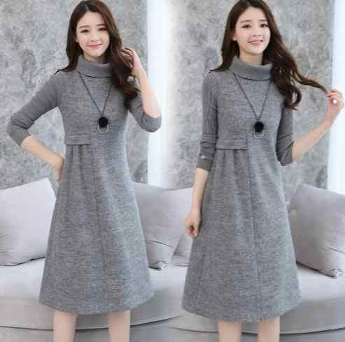 146859e615ee Woolen Dress for Women Knit Long Sleeve Turtleneck Elegant A-line Dress  Thick Autumn Winter