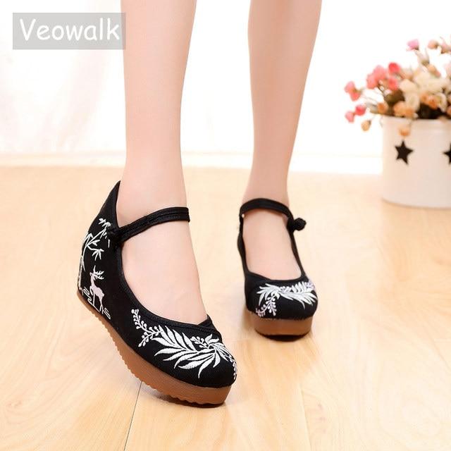 Veowalk נשים מקרית בד רקום נסתרת פלטפורמת נעלי רטרו קרסול רצועת נוחות סיני רקמת שטוח נעלי לאישה