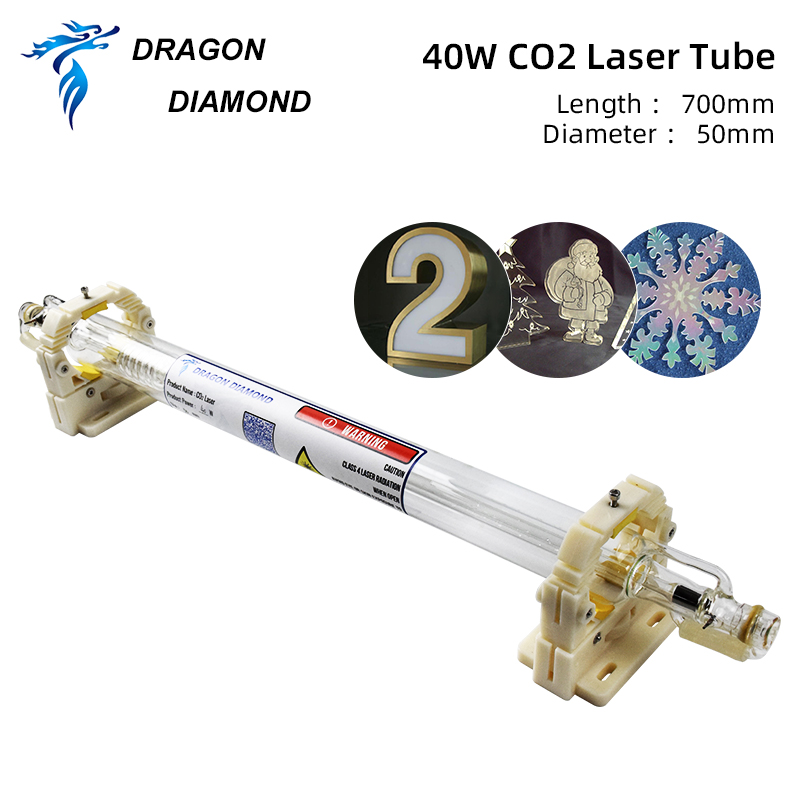 Original 40W  K40 Glass Laser Tube  700MM  For CO2 Laser Engraving Cutting Machine Double Package From Dragon Diamond