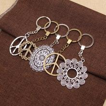 Flower Of Life Pendant Metal Sign Keychains For Women Gift New Year Peace Sign Pendant sign of street i