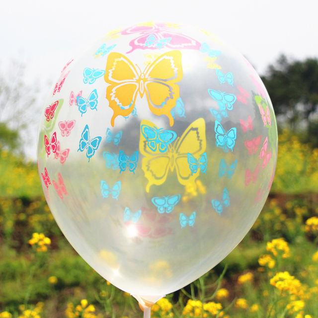 Butterfly Printed Transparent Balloon Set 10 Pcs