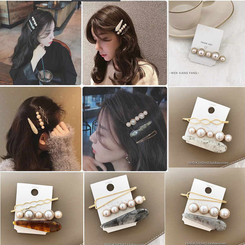 Wholesale 3/1 Pcs Marble Hair Clips Combination and Romantic Temperament Pearl Bangs Clip Adult Hair Card Set Jewelry Hairgrips