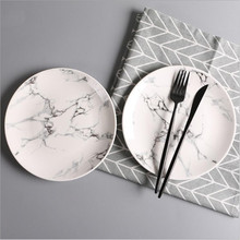 8 inch Marble Ceramic Plates Dinner Porcelain Dessert Plate Beef Dish Fruit Cake Tray Food Tableware 1pc