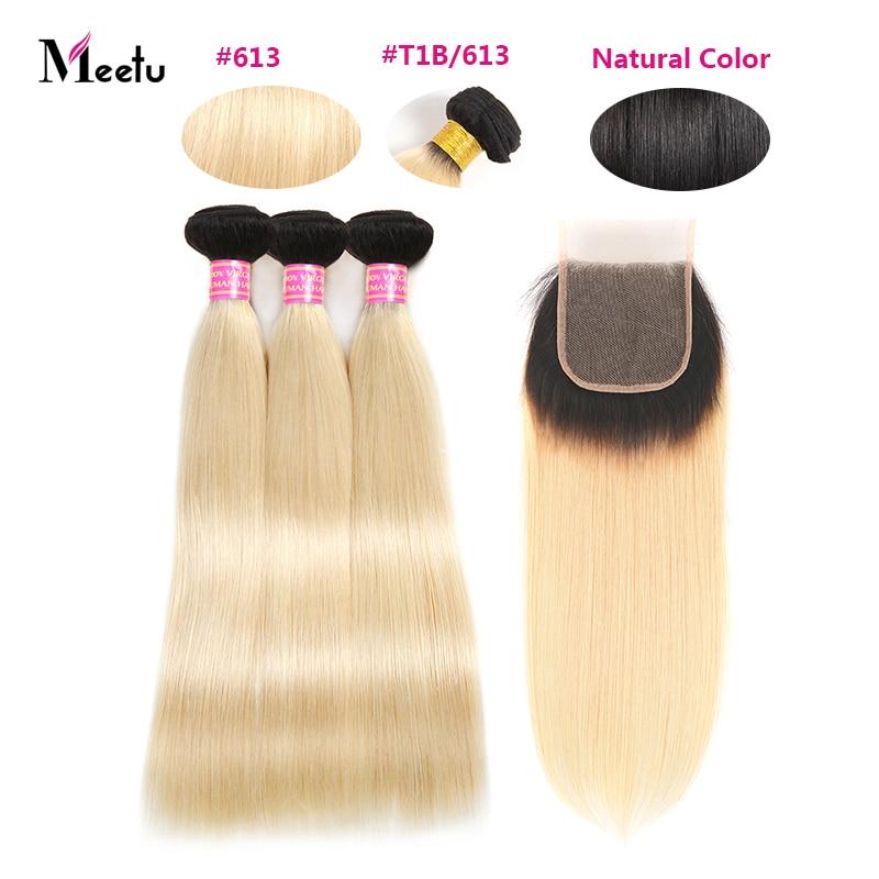 Meetu Blonde Straight Hair Bundles with Closure 613 Hair Bundles with Closure Remy Brazilian Human Hair