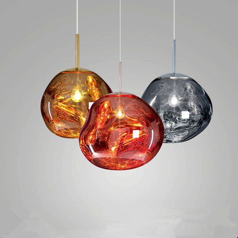 AC96 220V D20 37cm Red gold silver Post modern Tom DIXON Melt Pendant Lights Glass Lava Irregular Hang Lamp fixtures indoor lamp