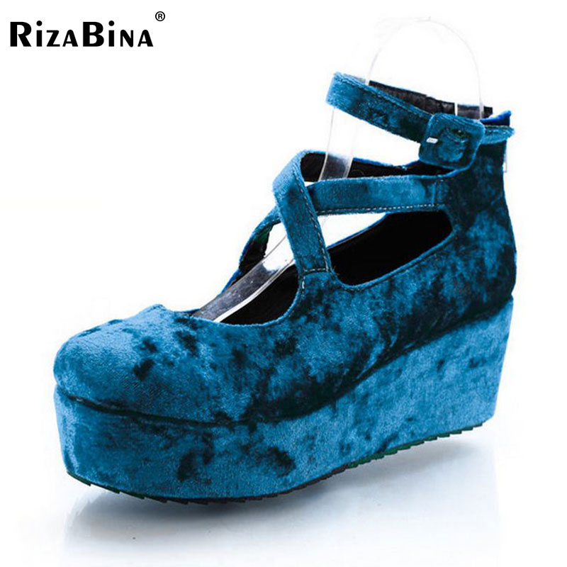 RizaBina free shipping high heel wedge shoes women sexy dress footwear fashion pumps P11173 EUR size 30-43 free shipping candy color women garden shoes breathable women beach shoes hsa21