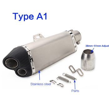Motorcycle muffler exhaust pipe echappement moto modified double hole pipe for ninja 300 gsr750 z650 yoshimura nc750x sv650 fz8