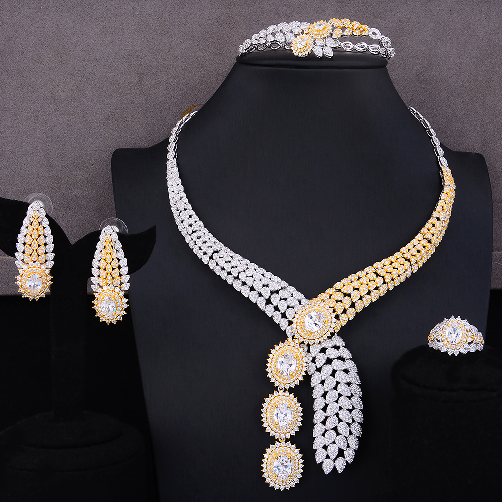 GODKI Luxury 4PCS African Jewelry Sets For Women Wedding Cubic Zircon Crystal CZ Engagement Dubai Silver