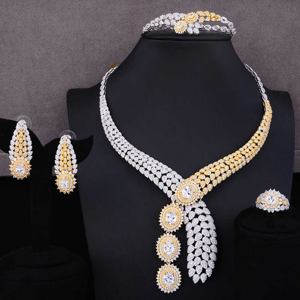 GODKI Luxury 4PCS African Jewelry Sets For Women Wedding Cubic Zircon Crystal CZ Engagement Dubai Silver Bridal Jewelry Sets