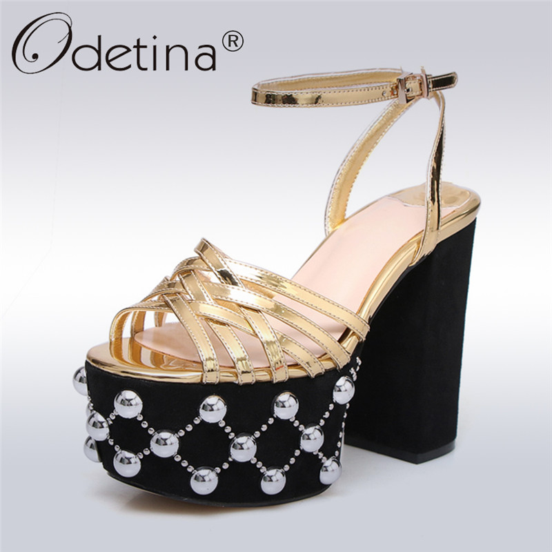 Odetina 2018 New Fashion Extreme High Heel Sandals For Women Ankle Strap Peep Toe Party Shoes Platform Thick Heel Sexy Sandals fashion peep toe and platform design sandals for women
