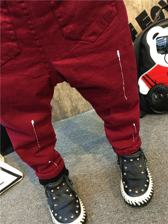 children baby boys autumn winter thick warm jeans pants (15)