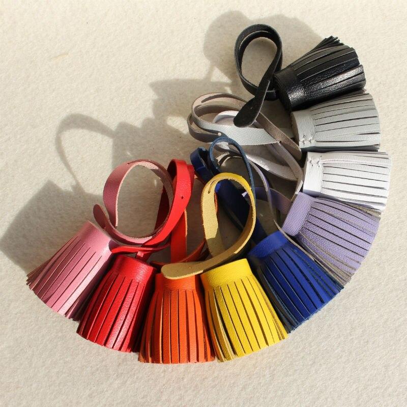 100/% Genuine leather Point Tassel Key chain Womens Handbag Accessories Ornament