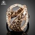 AZORA Individualidade Rosa Banhado A Ouro 7 Projeto com Cystal Austríaco Anéis Leopardo TR0163