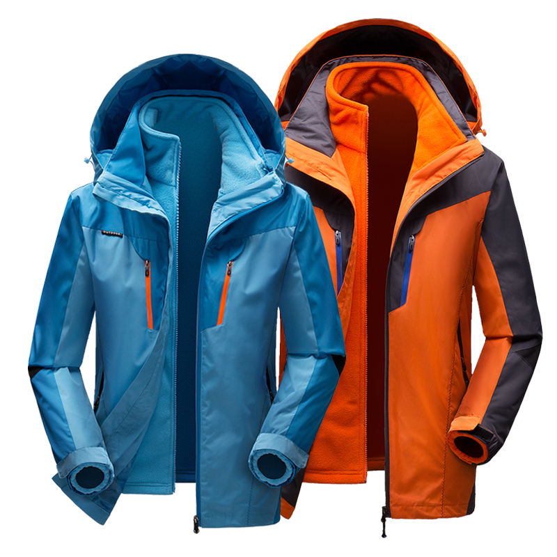 3 in 1 Jackets Men Keep Warm Outdoor Windbreaker Womens Mens Hiking Camping Jacket Hooded 2 in 1 Winter Coats Lovers Style 2 pieces winter thermal waterproof camping jackets outdoor quick dry breathable hiking jacket men women clothes windbreaker 8029