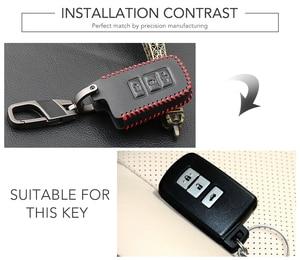 Image 2 - 3 כפתור עור מפתח Fob מעטפת כיסוי מקרה עבור טויוטה קאמרי קורולה Avalon Rav4 לנד קרוזר רכב מרחוק מפתח בעל מגן