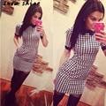 snowshine #4001  New Women Dress Slim Short Sleeved Plaid Print Bodycon Casual Dresses  free shipping