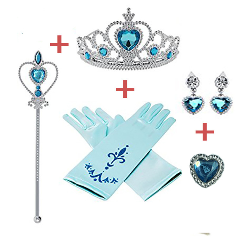 5pcs/lot  Disney Princess Beauty Fashion Toys Pretend Play Frozen Accessories Love Sticky Diamond Crown Magic Bar Crown