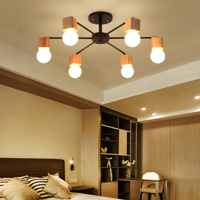 wood LED ceiling lights living room bedroom children's room ceiling lamp modern lustres de sala plafon AC 85-277V rh loft wood e27 led bulb ceiling lights fixture home deco living room iron ceiling lamp modern lustres de sala plafon