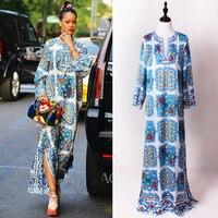 Summer Runway Women's Elegant V neck Blue and White Porcelain Printed Maxi Long Loose Dress Fashion Beading Dresses Plus Size