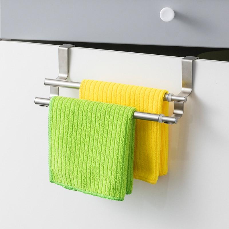 Kitchen Towel Holder Expandable Bathroom Bar Stainless Steel Storage Hanger Rack Door Hook Shelf Organizer