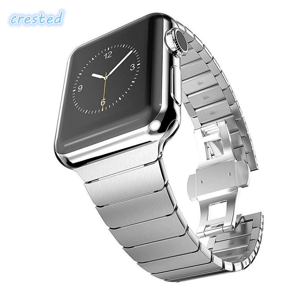 CRESTED butterfly loop watch strap For Apple watch band 42mm 38mm iwatch 3 2 1 stainless steel Link wrist bracelet watch band crested milanese loop strap metal frame for fitbit blaze stainless steel watch band magnetic lock bracelet wristwatch bracelet