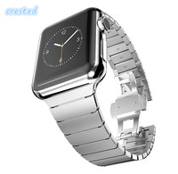 Luxury Watchband Metal Straps For Apple Watch Band 42mm Stainless Steel Link Bracelet 38mm Butterfly Loop
