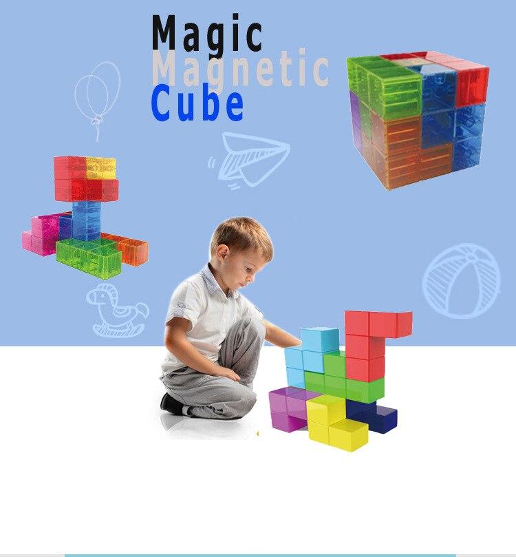 Loyaal Speelgoed Magnetische Kubus Bouwstenen 3d Magneet Tegel 7 Pcs Set Puzzel Speed Cube 3x3x3 Met 54 Pcs Gids Kaarten Intelligentie Eerste Kwaliteit