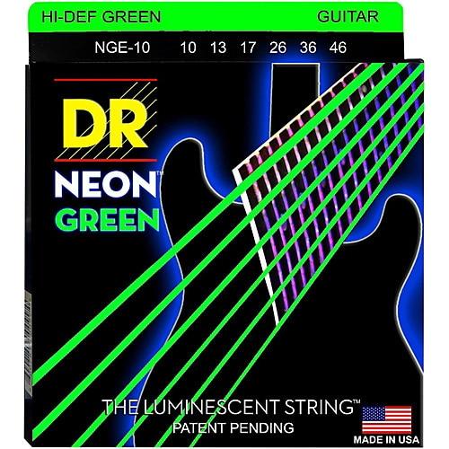 Image 2 - DR K3 Hi def Neon Green Luminescent Electric Guitar Strings, Light 09 42 or Medium 10 46electric guitar stringsguitar stringsguitar electric strings -