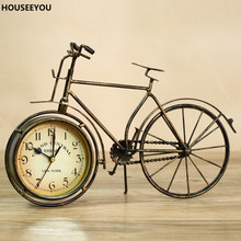 Europe Bicycle Desk Clock Wrought Iron Antique Decorative Quartz Desk Table Clock Bedroom Mute Desktop Home Decor Needle Watches