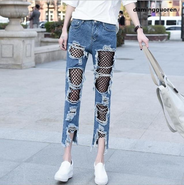 Aliexpress.com : Buy Women Ripped Jeans femme Plus Size fashion ...